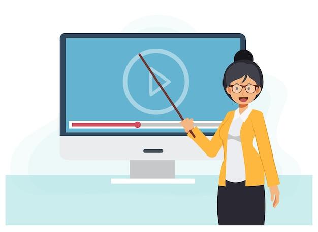 コンピューターモニターの前で教える教師のオンライン教育イラスト