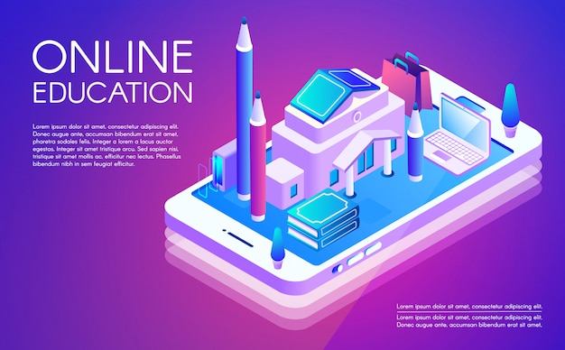 Online education illustration of remote study of university or college internet courses.