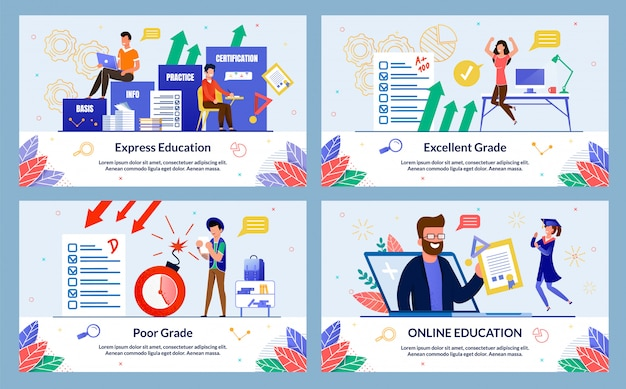 Online education illustration set in flat style