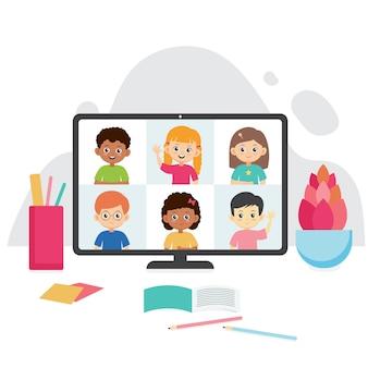 オンライン教育のイラスト。コンピューターの画面で笑顔の子供たち。生徒とのテレビ会議。