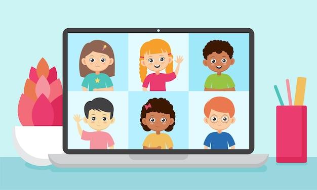 オンライン教育のイラスト。ノートパソコンの画面で笑顔の子供たち。生徒とのテレビ会議。