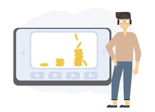 さまざまな人とのオンライン教育イラスト。お金を稼ぐトレーニング