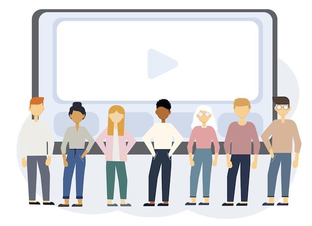ノートパソコンのモニターと人々とのオンライン教育イラスト