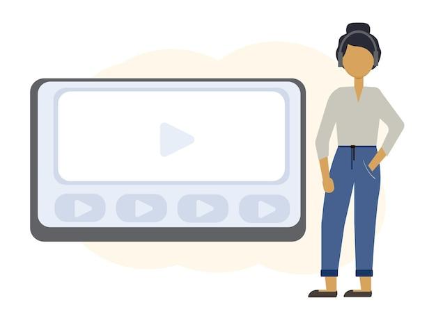 ノートパソコンのモニターとヘッドフォンで女性とオンライン教育のイラスト