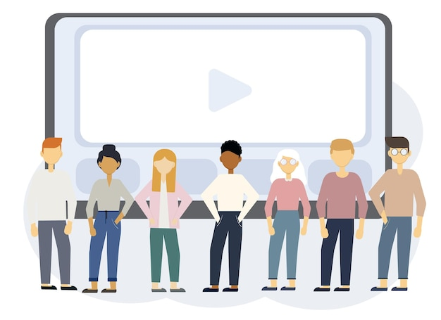 Online education illustration with laptop monitor and people