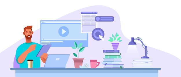 自宅、ラップトップ、机でインターネットで勉強している若い学生とオンライン教育のイラスト