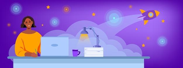インターネットで在宅勤務の若い女性とオンライン教育イラスト