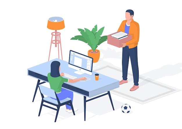 격리 기간 동안 호스텔에서 온라인 교육. 십대는 받은 목표를 달성한 컴퓨터에 앉아 있습니다. 상자 전체 교과서와 함께 서 있는 남자. 전염병에 대한 웹 교육. 벡터 현실적인 아이소메트릭