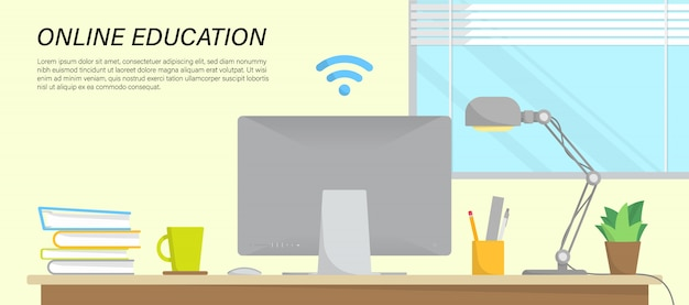 Online education infographic with workspace in home and place for text