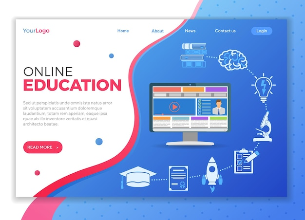 Online education infographics with flat icon set for flyer, poster, web site like mortarboard, books, microscope and computer. landing page template. isolated vector illustration