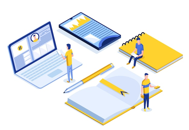 Online education isometric banner with characters. e-learning at home for student. distance education in virtual environment vector illustration