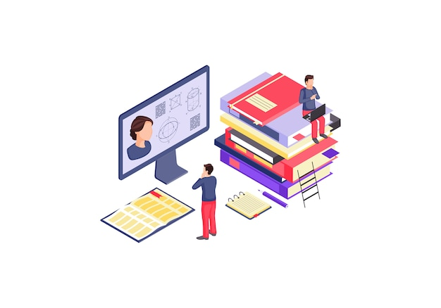 Online education isometric color illustration.