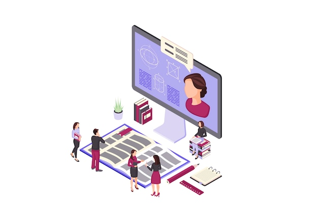 Online education isometric color illustration