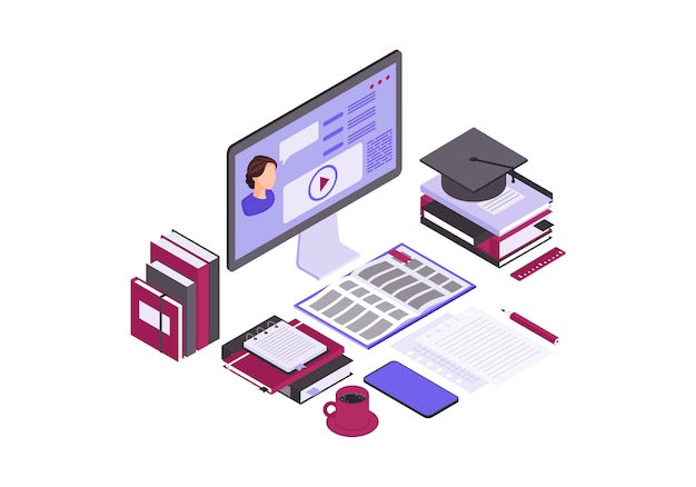 Online education isometric color vector illustration