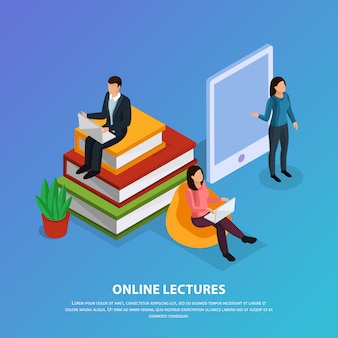 Online education isometric composition with teacher and students during web lecture on blue