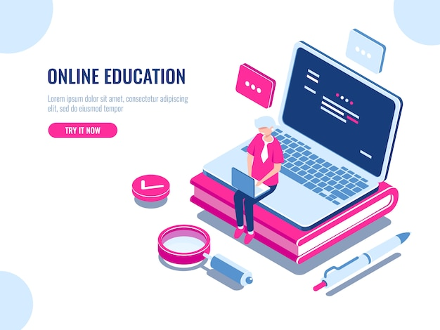 Online education isometric concept, laptop on book, internet course for learning on home