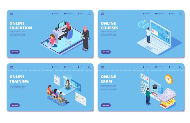 Online education isometric  concept pages. online exam, training, courses landing page set