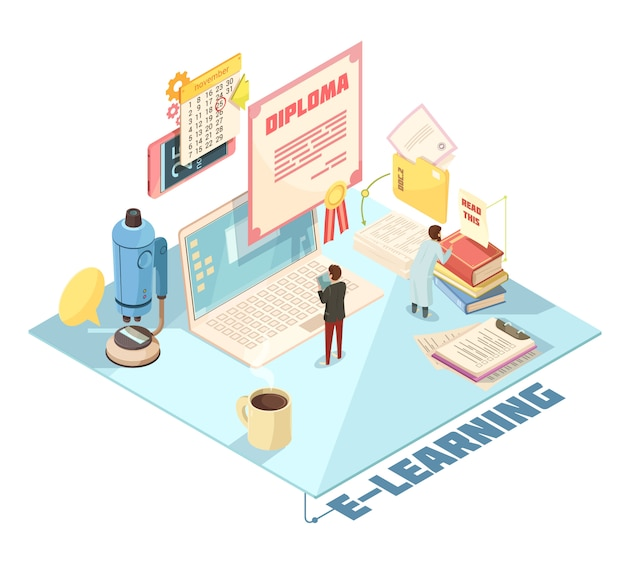 Online education isometric design