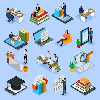 Icone isometriche di formazione online
