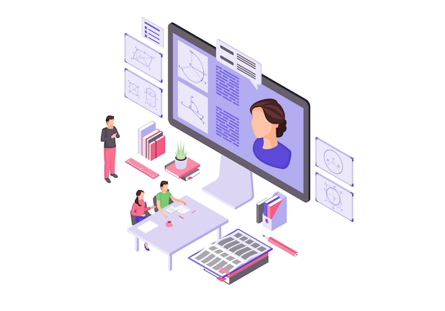 Online education isometric illustration
