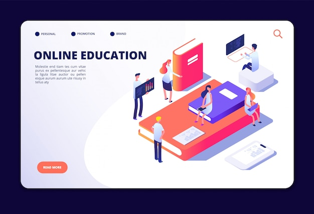 Online education isometric. internet class training, studying in on-line classroom. courses, education technology vector concept