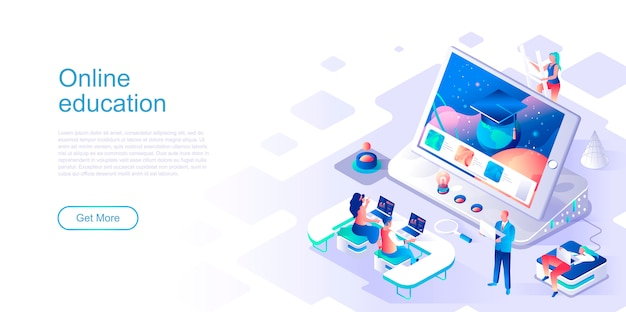 Online education isometric landing page vector template.
