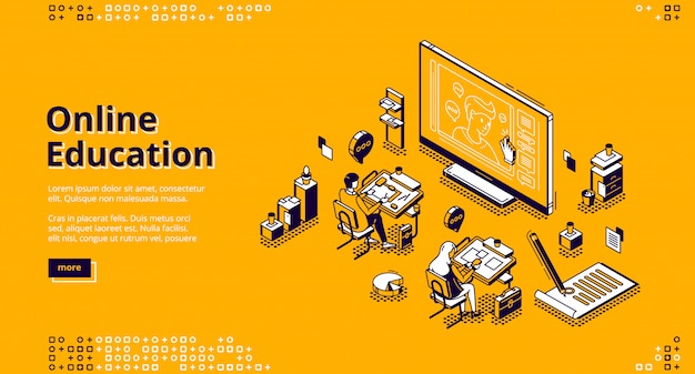Online education isometric landing page web banner