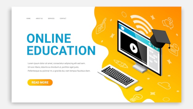 Online education isometric landing page web design template. 3d desktop computer with video lesson on monitor screen web site concept.