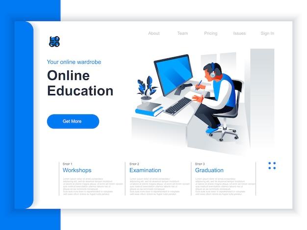 オンライン教育等尺性ランディングページ。若い男が職場の状況でコンピューターで勉強します。遠隔学習、オンラインウェビナー、プロフェッショナルコース、スキル開発の視点のフラットデザイン