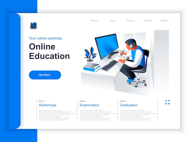 Online education isometric landing page. young man studying with computer at workplace situation. distance learning, online webinar, professional courses and skills development perspective flat design