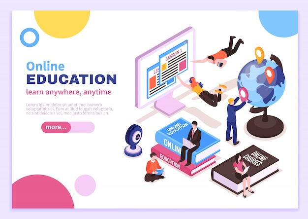 Online education isometric poster with tutorials advertising distance courses and slogan learn anywhere anytime