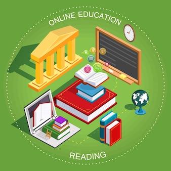 Интернет-обучение изометрические. концепция обучения и чтения книг в библиотеке. плоский дизайн. иллюстрация