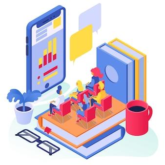 オンライン教育、等角ベクトル図、smrtphone学校の概念でフラットな小さな男と女のキャラクターの研究、学生は本に座っています。