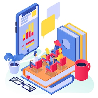Online education, isometric vector illustration, flat tiny man woman character study at smrtphone school concept, student sit at books.