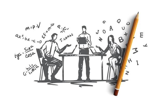 オンライン、教育、知識、コンピューター、インターネットの概念。ノートパソコンのコンセプトスケッチでオンライン教育を実践している手描きの人々。図。