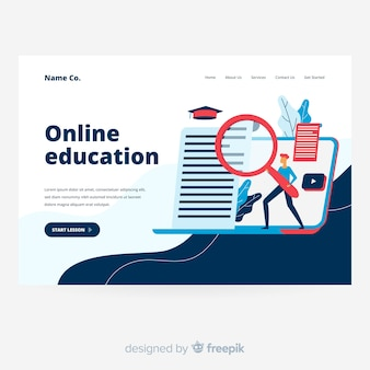 Online education landing page background in flat design