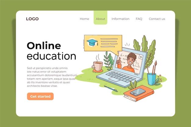 オンライン教育のランディングページのデザインテンプレート