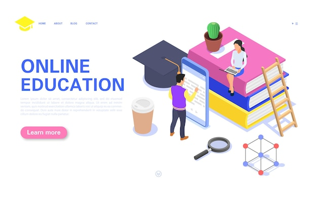 Online education landing page. a girl and a guy are studying the course on a computer and a smartpho