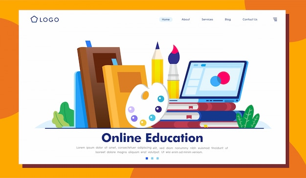 Online education landing page illustration  template