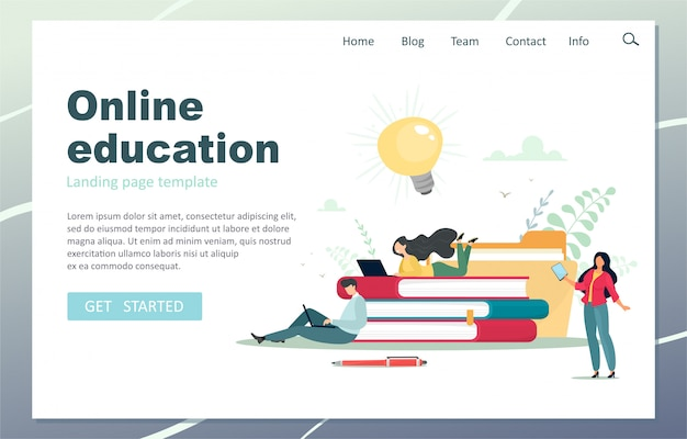 Online education landing page. male teacher giving online lessons.   illustration in cartoon flat style.