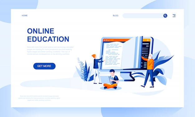 Online education landing page template with header