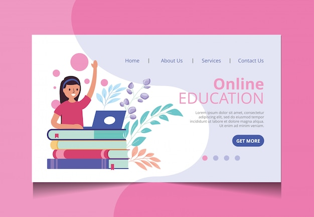 Online education landing page vector