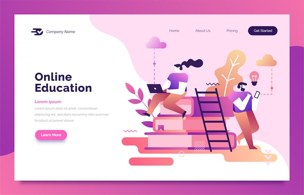 Online education landing page for web