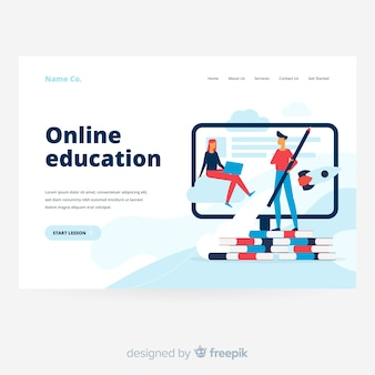 Online education landing page with books