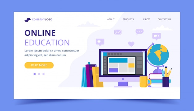 Online education landing page with a computer and different books.