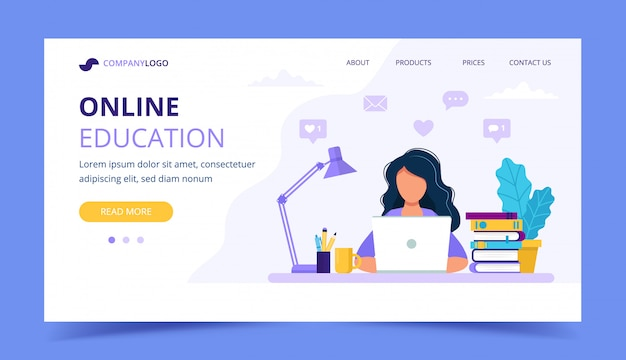 Online education landing page with a girl studying with computer.
