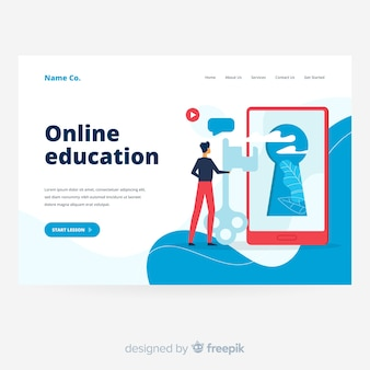Online education landing page with screen