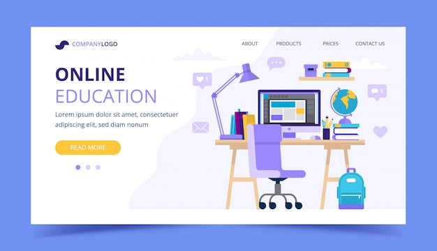 Online education landing page with a student desk with different studying items.