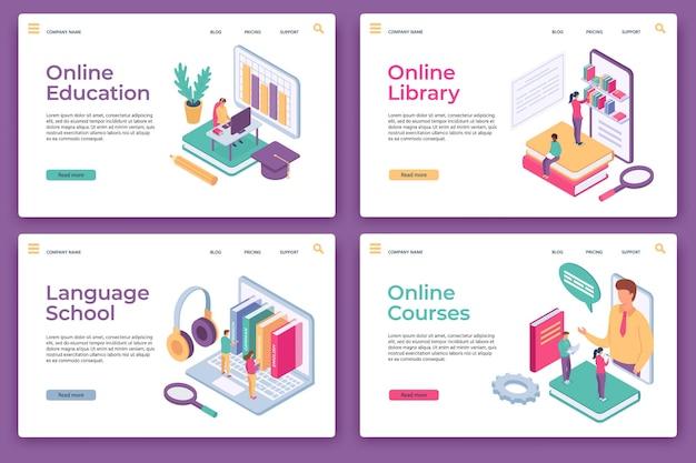 Целевые страницы онлайн-образования. изометрическое дистанционное обучение, домашнее обучение, веб-библиотека, языковая школа и курсы, векторный набор страниц веб-сайта. дистанционное обучение иллюстраций, электронное обучение онлайн