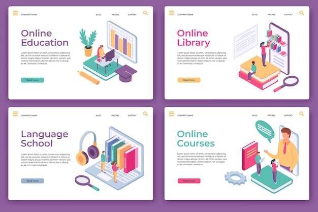 Online education landing pages. isometric distance learning, home study, web library, language school and courses, website page vector set. illustration education distance, knowledge e-learning online